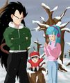 Raditz and Maron in the snow - dragon-ball-females fan art