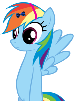 Rainbow Dash in a bow and a headband