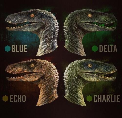 Jurassic World karatasi la kupamba ukuta entitled Raptor Squad(Blue,Delta,Echo and Charlie)