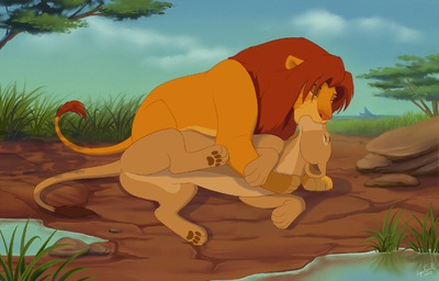 The Lion King kertas dinding probably with a triceratops and Anime titled Simba and Nala's personal time together