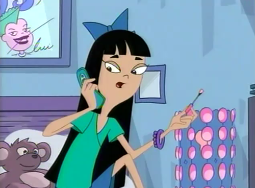 stacy from phineas & ferb দেওয়ালপত্র containing জীবন্ত titled Stacy Painting Her Nails