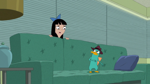 stacy from phineas & ferb দেওয়ালপত্র possibly containing a sign and a living room entitled Stacy Sees Agent P