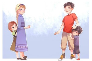 Tadashi and Hiro with Anna and Elsa