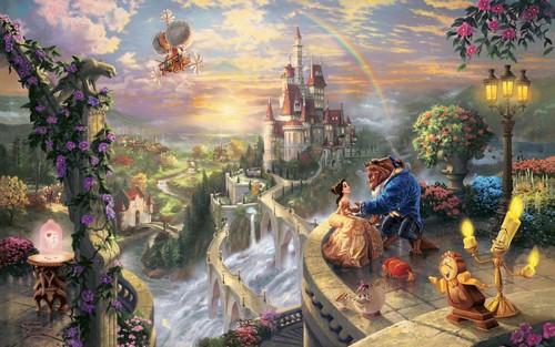 Die Schöne und das Biest Hintergrund possibly with a brunnen titled The Beauty and The Beast