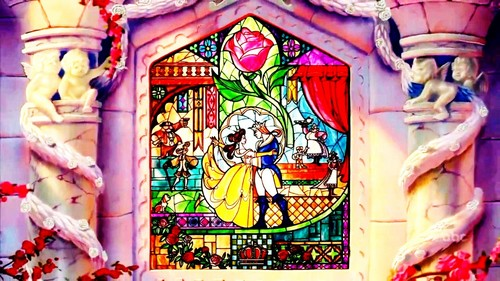 Beauty and the Beast wallpaper possibly containing a stained glass window called The Beauty and The Beast