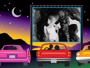 They watching Creature from the Black Lagoon in the Drive-In