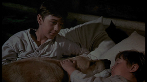 Tommy Kirk as Travis Coates and Kevin Corcoran as Arliss Coates in Old Yeller