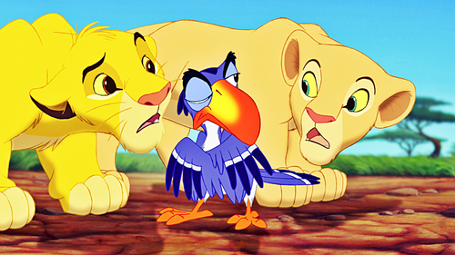Walt Disney Characters wallpaper titled Walt Disney Screencaps - Simba, Zazu & Nala