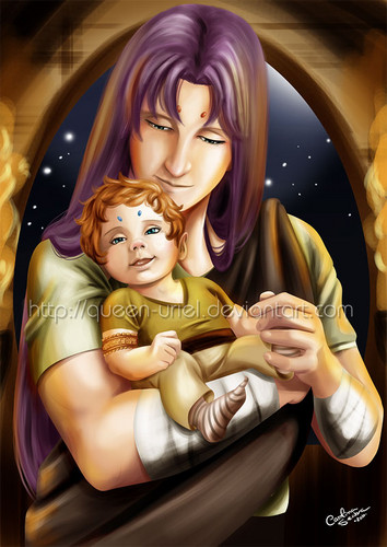 Saint Seiya (Knights of the Zodiac) fondo de pantalla titled Young Mu and Baby Kiki (Saint Seiya)
