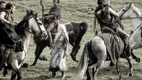 Daenerys Targaryen wallpaper containing a horse wrangler and a lippizan entitled dany and dothraki
