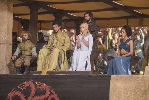 Daenerys Targaryen wallpaper possibly containing a business suit and a bridesmaid entitled dany with missandei, daario, tyrion and hizdahr