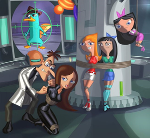 Candace, Isabella, Stacy, Dr. Doofenshmirtz, Perry the Platypus and Vanessa