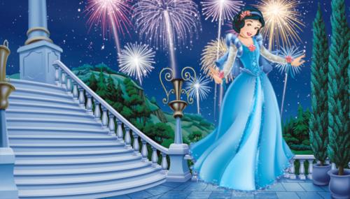 Snow White kertas dinding titled prom dress