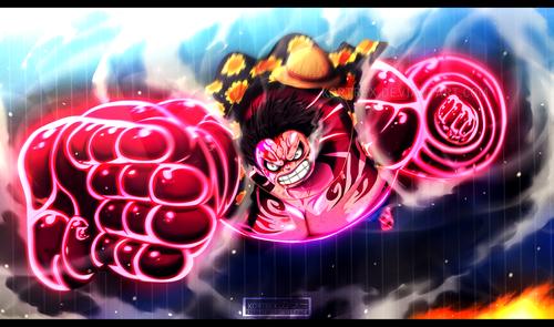 Monkey D. Luffy karatasi la kupamba ukuta called *Luffy Gear 4 : Gomu Gomu No Culverin*