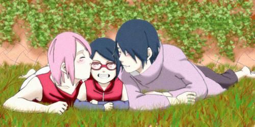 Sasuke Ichiwa fond d'écran titled *Sakura / Sarada / Sasuke : Happy Family*