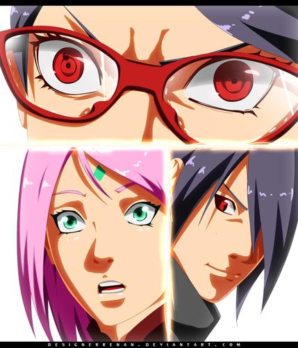 Naruto Shippuuden fond d'écran titled *Sarada's Fury : Sakura Sasuke Impressed*