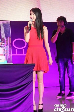 150725 IU made a special appearance at the 10th anniversary of Dungeon Fighter's release