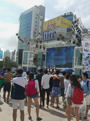 150725 The stage that ‪‎IU‬ and ‪‎JYP‬ will be performing on at the ‎HiteJinro‬ Be