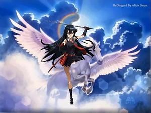 Akame riding on a beautiful pegasus