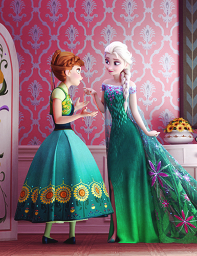 Frozen Fever Hintergrund probably containing a abendessen dress, a bridesmaid, and a kirtle entitled Anna and Elsa