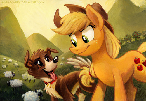 My Little Pony Friendship is Magic wallpaper possibly with anime entitled Applejack and Winona
