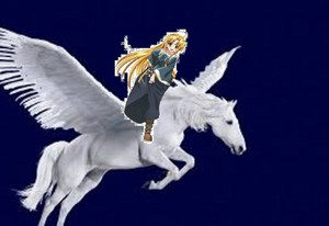 Asia Argento rides on a beautiful pegasus