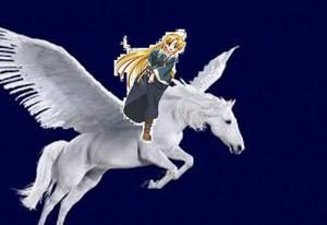 Asia Argento rides on a beautiful pegasus