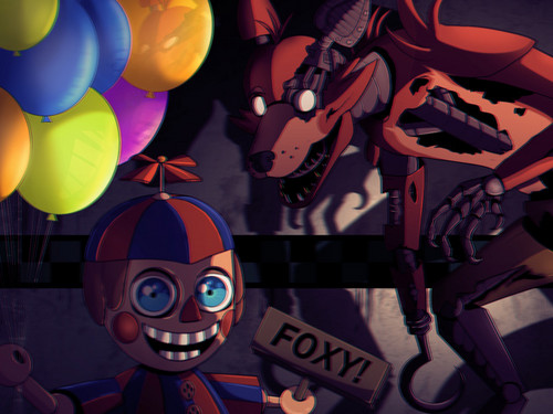 Five Nights at Freddy's kertas dinding called Balloon boy and foxy the pirate