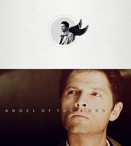 Supernatural wallpaper probably containing a sign and a portrait titled Castiel