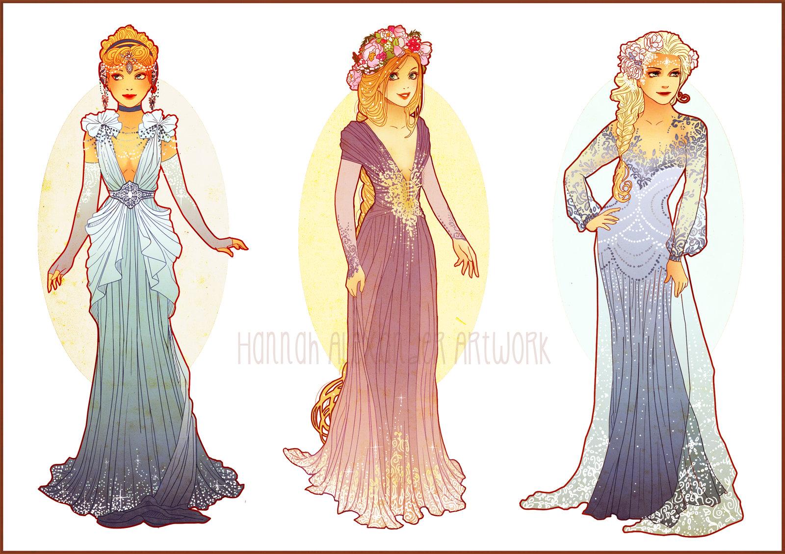 Cinderella, Rapunzel and Elsa