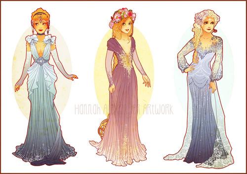 pahlawan film animasi masa kecil wallpaper possibly with a makan malam dress entitled Cinderella, Rapunzel and Elsa
