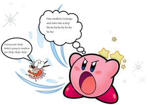 Courage getting swallowed oleh Kirby