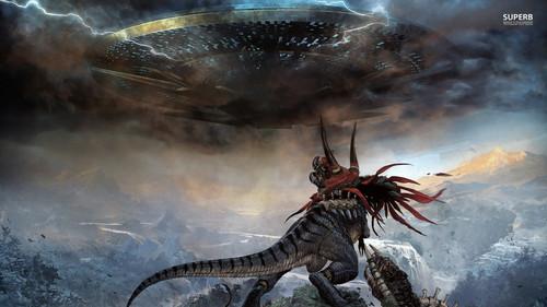 Dinosaurs wallpaper called Dinosaur vs. Spaceship!