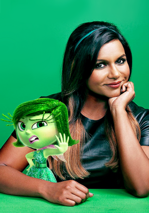 Disgust and her voice actress Mindy Kaling