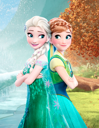Frozen Fever Hintergrund titled Elsa and Anna
