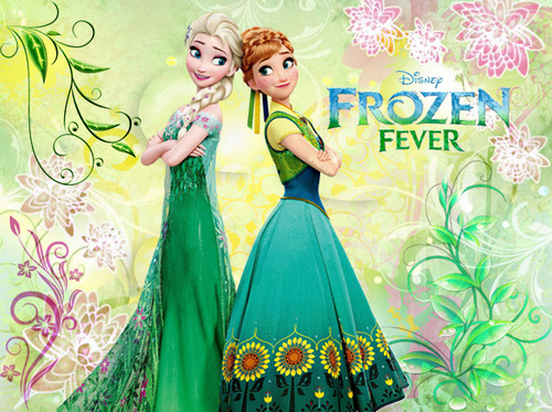 Frozen Fever Hintergrund possibly containing a abendessen dress, a gown, and a bridesmaid titled Elsa and Anna