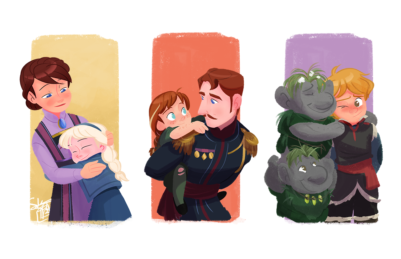 Elsa and Queen Idunn, Anna and King Agdar, Kristoff and the Trolls