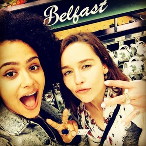 Emilia Clarke and Nathalie Emmanuel @ Belfast