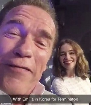 Emilia and Arnold taking a selfie at the Terminator premiere