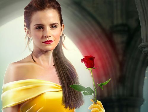 Beauty and the Beast (2017) karatasi la kupamba ukuta with a bouquet titled Emma Watson / Belle