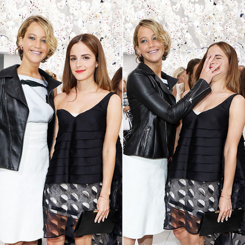 Emma Watson wallpaper with a hip boot called Emma and Jennifer Lawrence