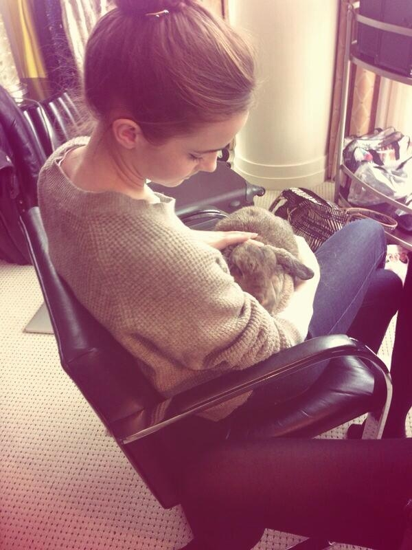 Emma holding a bunny