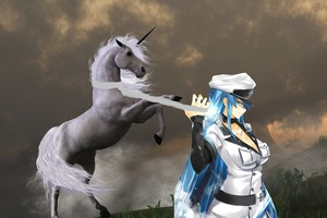 Esdeath capture and tames an wild unicorn