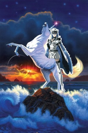 Esdeath rides on an white unicorn