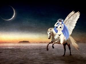 Esdeath riding on a white pegasus