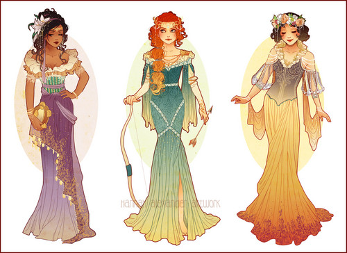 Disney Extended Princess achtergrond titled Esmeralda, Merida and Snow White