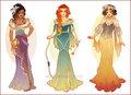 Esmeralda, Merida and Snow White - disney-females fan art