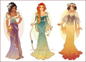 Esmeralda, Merida and Snow White