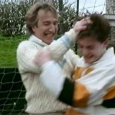 Exclusive unseen pic: Daniel Radcliffe & Alan Rickman (FB.com/DanielJacobRadcliffeFanClub)