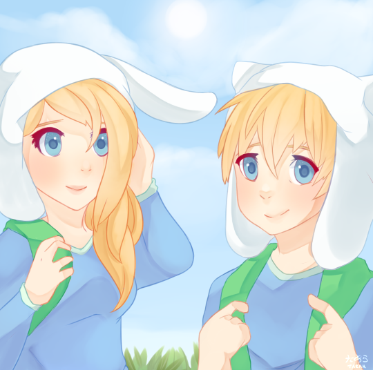 Finn and Jake with Fionna and Cake by Monicherrie on